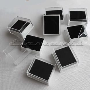 Plastic Clear Lid Stud Earrings Display Boxes With Plain Black Pads Top Hole